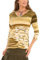 Le Mieux Olive Abstract Three-Quarter Sleeve Top