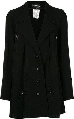 Chanel Pre Owned 1994s CC A-line long sleeve single-breasted jacket
