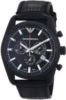 Giorgio Armani AR6035 42mm Stainless Steel Case Black Leather Mineral Men's Watch