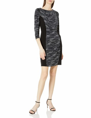Lark & Ro Women's Three Quarter Sleeve Colorblocked Sheath Dress with Faux Leather