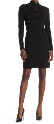 Carmen Carmen Marc Valvo Long Sleeve Mock Neck Sweater Dress