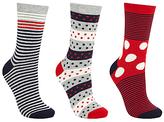 John Lewis Spot and Stripe Print Ankle Socks, Pack of 3, Multi