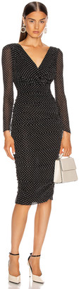 Dolce & Gabbana Ruched Long Sleeve Midi Dress in Black | FWRD