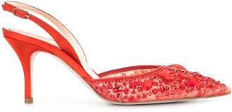 Rene Caovilla Embellished Sling-Back Stilettos