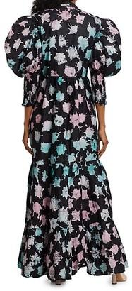 Busayo Oba Puff Sleeve Midi Dress
