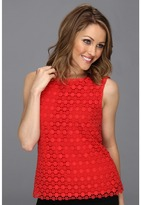 Vince Camuto Sleeveless Lace Blouse (Cherry) - Apparel