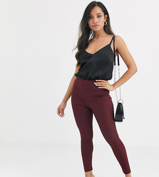 Asos DESIGN Petite high waist trousers skinny fit in rioja-Red