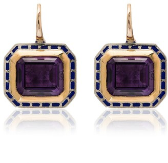 Alice Cicolini 14K yellow gold and silver Tile amethyst earrings
