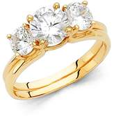 Paradise Jewelers 14K Solid Yellow Gold Polished Cubic Zirconia Wedding Engagement Ring with Side Stones, Size 6