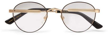 Gucci Round-Frame Enamelled Gold-Tone Optical Glasses
