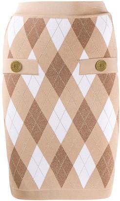 Balmain Diamond Knit Fitted Skirt