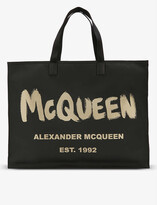 Thumbnail for your product : Alexander McQueen Graffiti-print open-top shell tote bag