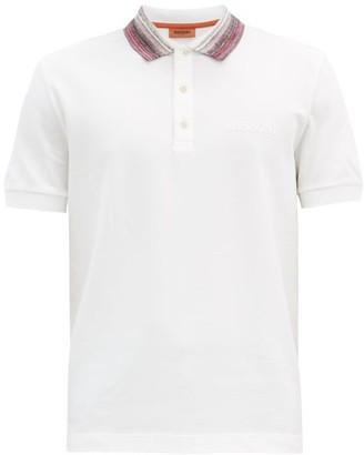 Missoni Striped-collar Cotton-pique Polo Shirt - White