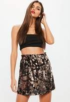 Missguided Rose Gold Sequin Velvet Mini Skirt