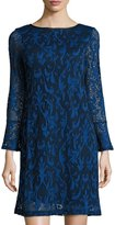 Neiman Marcus Long-Sleeve Paisley Lace Shift Dress, Royal
