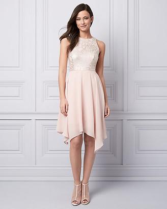 Le Château Foil Knit & Chiffon Halter Cocktail Dress