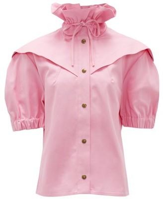 Symonds Pearmain - Ruffle-neck Belted Cotton Blouse - Womens - Pink
