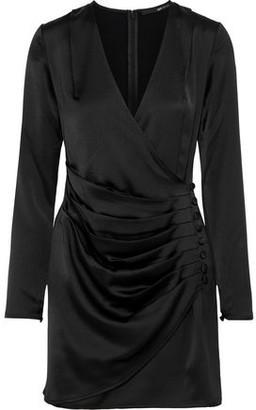 Jay Godfrey Wrap-effect Button-embellished Satin-crepe Mini Dress