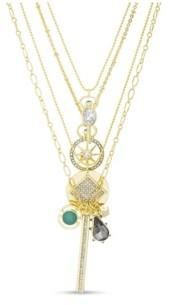 Kensie Rhinestone Charm Multi Layered Yellow Gold-Tone Necklace