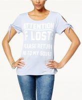 Belle Du Jour Juniors' Tie-Sleeve Graphic T-Shirt