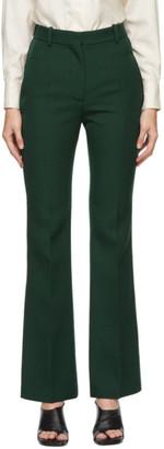Victoria Beckham Green Wool Gabardine Trousers