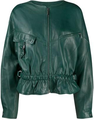 Alberta Ferretti Oversized Zip-Up Leather Jacket