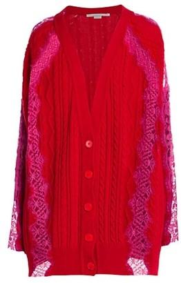 Stella McCartney Lace Insert V-Neck Knit Cardigan