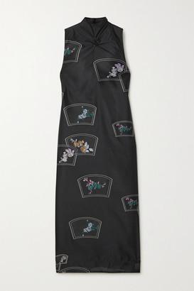 Ganni Floral-print Organza Midi Dress - Black