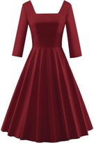 KAMA BRIDAL Women's 1950s Vintage 3/4 Sleeve Solid Cocktail Swing Dress XXL