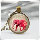 Flowers Elephant Jewelry Safari India Good Luck Art Pendant Red Elephant Necklace