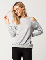 Socialite Distressed Womens Cold Shoulder Sweatshirt