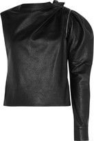 Saint Laurent Zip-detailed One-shoulder Leather Top - Black