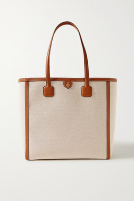 Mark Cross Antibes Textured Leather-trimmed Canvas Tote - Beige