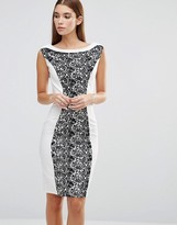 Paper Dolls Lace Overlay Panel Pencil Dress