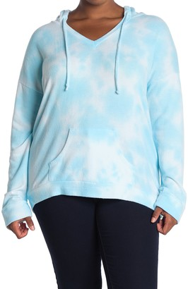 Theo And Spence Marble Tie Dye Print Hoodie (Plus Size)