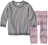 Cuddl Duds Baby Girl Cable-Knit Sweaterdress & Striped Pants Set