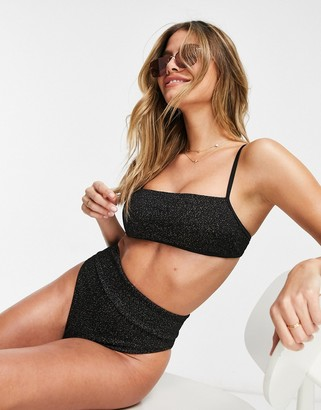 aerie square neck bandeau bikini top in black