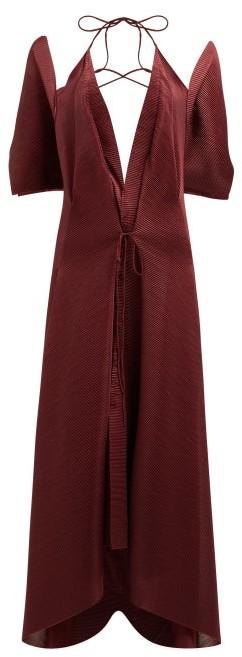 Thumbnail for your product : Roland Mouret Ballard Plunge-neck Plisse Jersey Dress - Burgundy