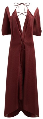 Roland Mouret Ballard Plunge Neck Plisse Jersey Dress - Womens - Burgundy