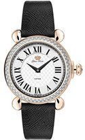 Glam Rock Women's Vintage 34mm Black Leather Band Rose Gold Plated Case Swiss Quartz Watch GR28050DS-BK