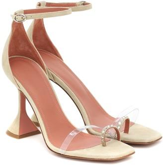 Amina Muaddi Oya PVC-trimmed suede sandals