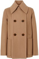 Burberry Button Panel Detail Wool Cashmere Pea Coat