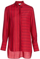 Akris Punto Tonal Stripe High-Low Blouse