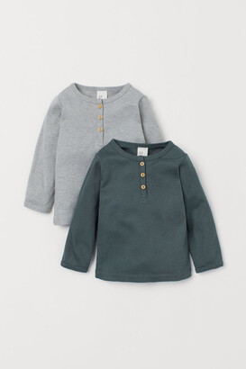 H&M 2-pack Cotton Henley Shirts - Green