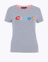Marks and Spencer Cotton Slogan Crew Neck Fitted T-Shirt