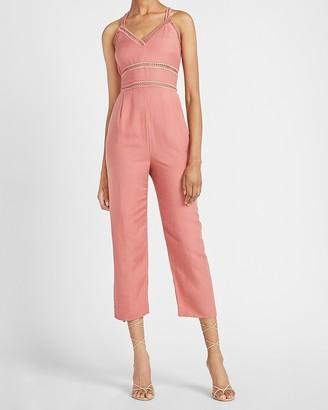 Express Linen-Blend Lace Trim Jumpsuit