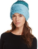 Jocelyn Color Block Rabbit Fur Knit Hat