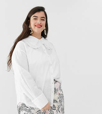 Neon Rose Plus shirt with oversized peter pan collar and lace trim-White