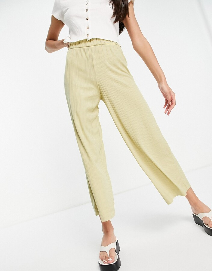Thumbnail for your product : Monki Cilla ribbed wide leg trousers in light khaki co-ord