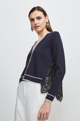 Karen Millen Lace Back Knit Cardigan